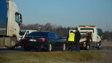 Wicepremier Gowin w rządowej limuzynie, która zderzyła się z ukraińskim tirem k. Mławy [ZDJĘCIA]