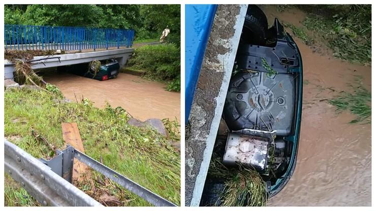 Woda porwała auto, zatrzymało się na moście. Potężne nawałnice nad Polską
