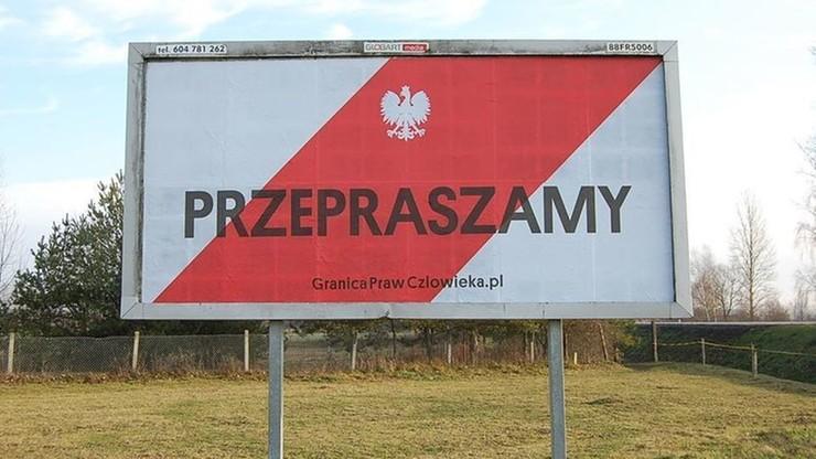 """Baner z """"przeprosinami"""" dla uchodźców w Terespolu: """"Granica Praw Człowieka"""""""