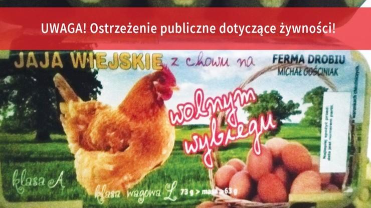 Etykieta wycofanych jajek