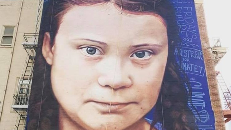 """Mural Grety Thunberg. """"To córka Putina"""", """"przybyła, by zniszczyć kapitalizm"""""""