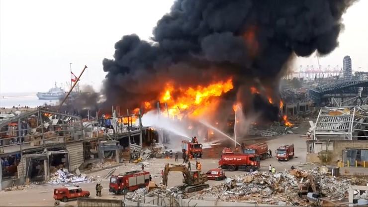 Liban: płonie port w Bejrucie. Miesiąc temu doszło tam do gigantycznej eksplozji