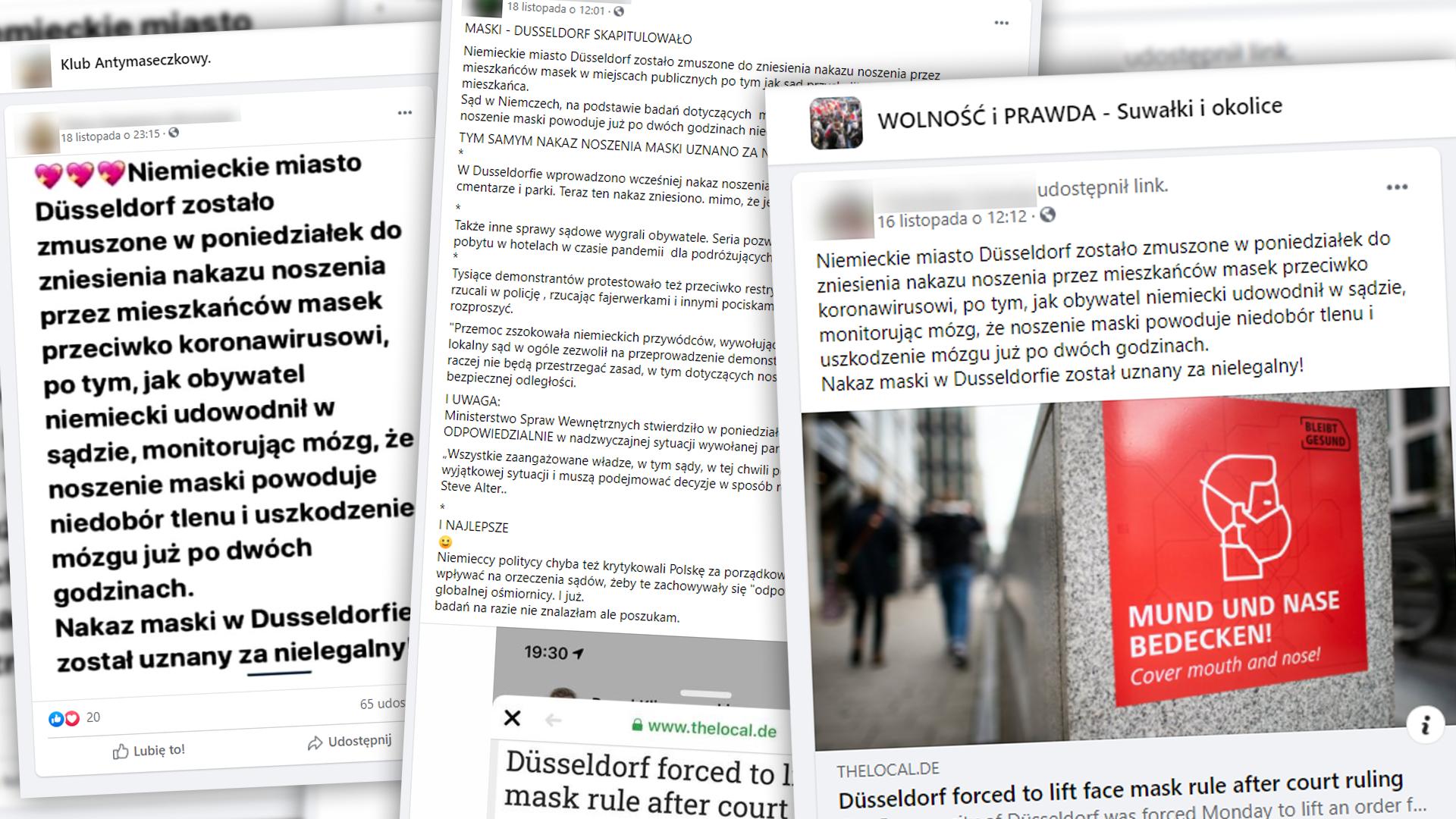 Posty na Facebooku informujące, że Duesseldorf zniósł nakaz noszenia masek, ponieważ ma to powodować niedobór tlenu i uszkodzenie mózgu