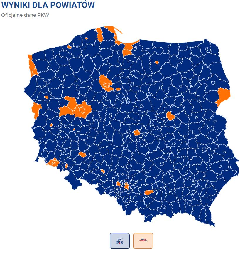 Wyniki wyborów do Sejmu z podziałem na powiaty