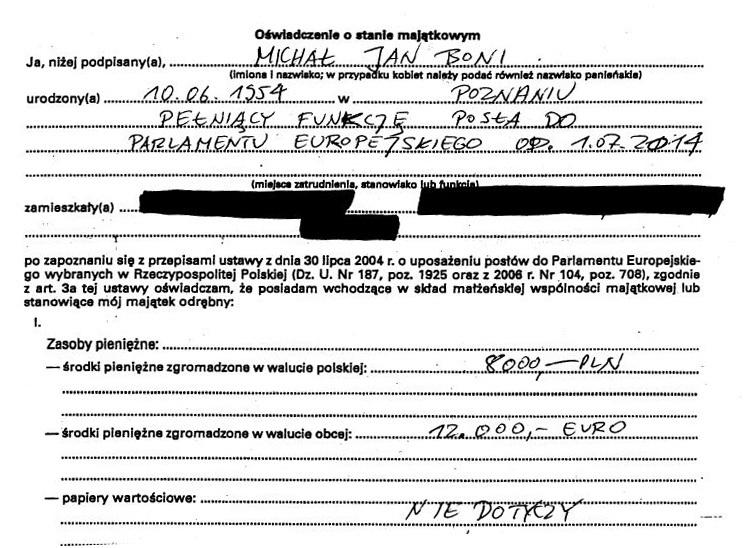 Oświadczenie majątkowe europosła Michała Boniego