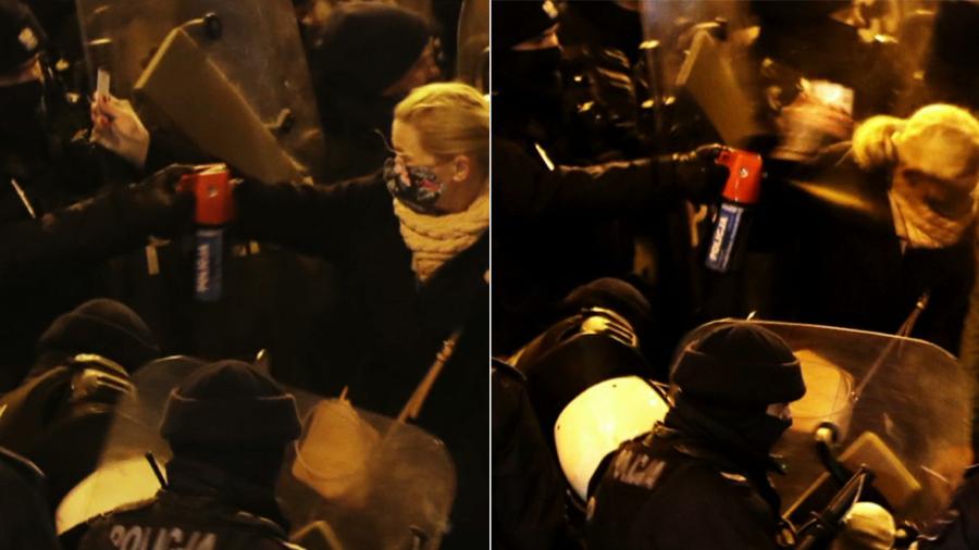 29.11.2020 | Barbara Nowacka potraktowana gazem podczas protestu