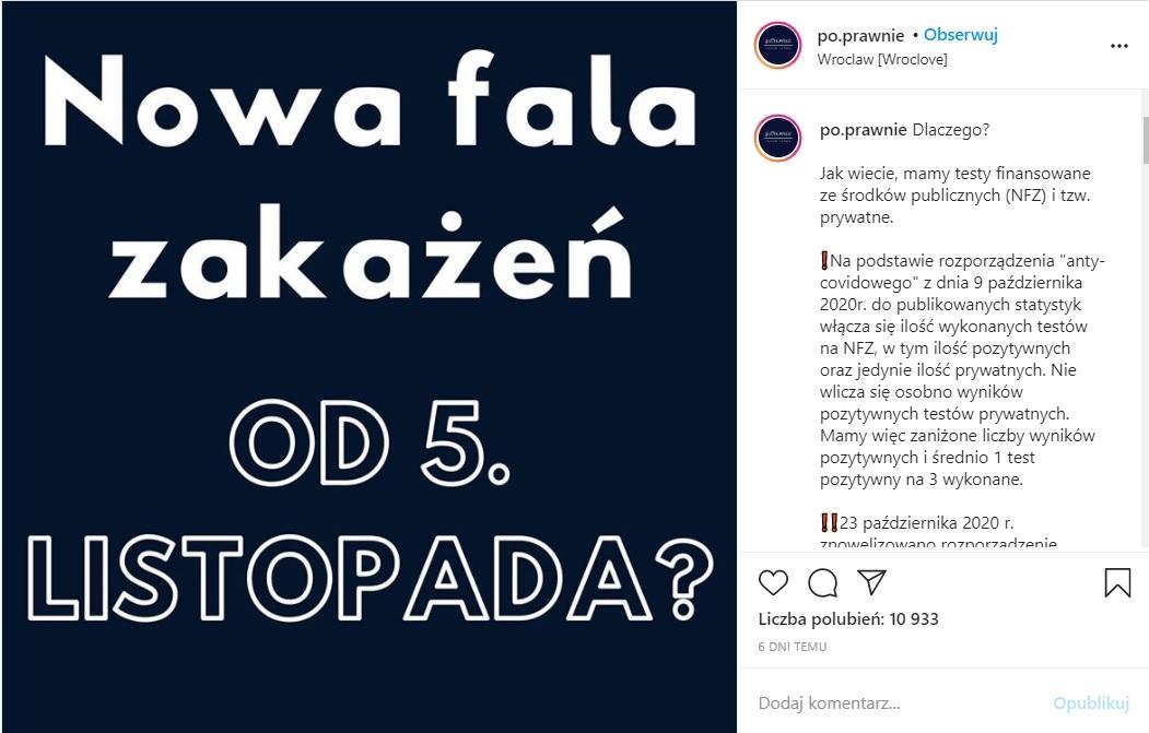 Post na koncie po.prawnie na Instagramie dotyczący zmiany przepisu o testach komercyjnych