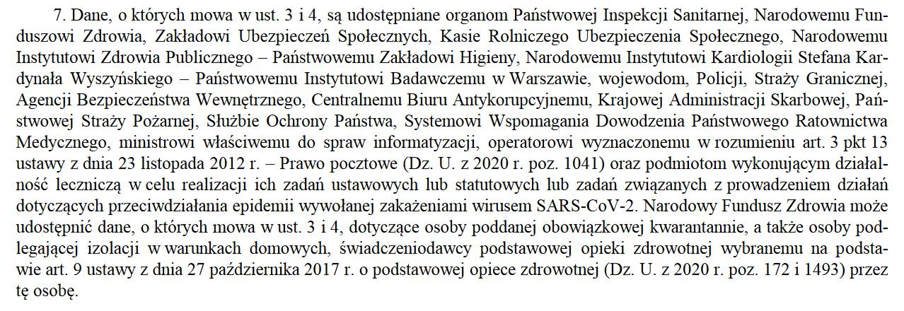 Fragment rozporządzenia Rady Ministrów z 9 października 2020 roku