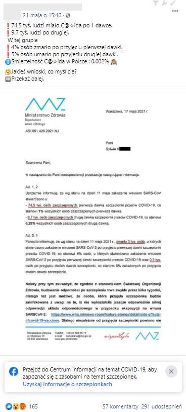 Skan pisma Ministerstwa Zrowia opublikowany na jednej z facebookowych grup