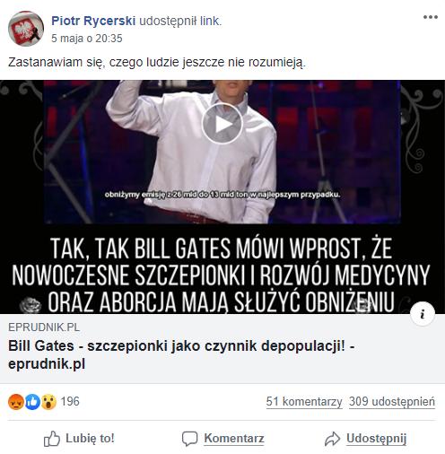 Wpis na Facebooku z linkiem do artykułu o Billu Gatesie