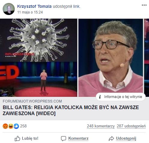 Link do artykułu z fałszywą wypowiedzią przypisywaną Billowi Gatesowi