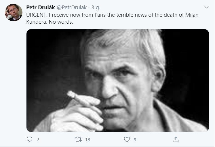 Pierwszy wpis na rzekomym koncie Petra Druláka informujący o śmierci Kundery - po angielsku
