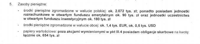 Fragment oświadczenia majątkowego S.Skuzy