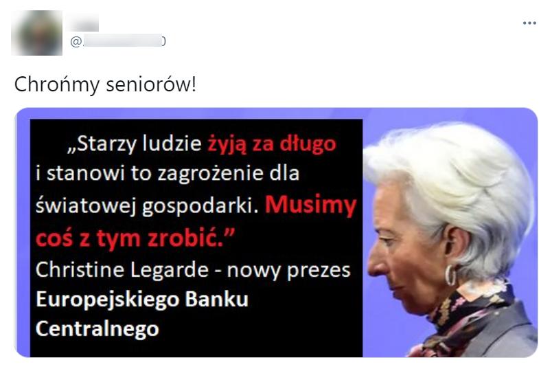 Internauci rozsyłają grafikę ze zdjęciem Lagarde i przypisywanymi jej słowami