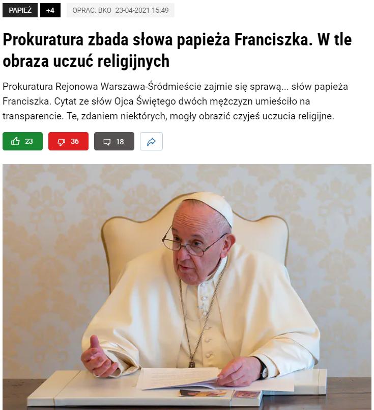 Artykuł, który ukazał się na portalu Wp.pl 23 kwietnia
