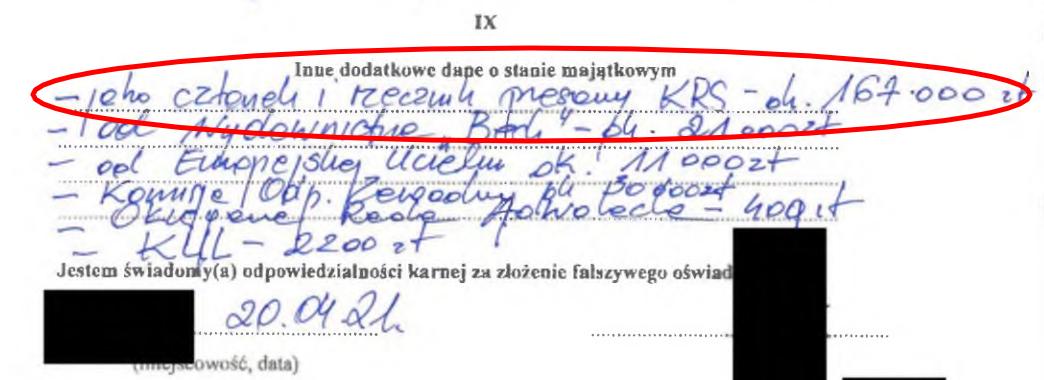 Fragment oświadczenia sędziego Mitery