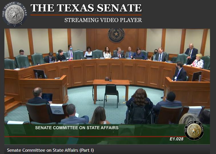 Publiczne przesłuchanie przed Komisją Spraw Stanowych Senatu w Teksasie z 6 maja 2021 roku.