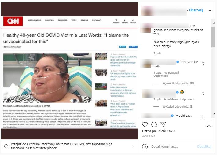 Post z tym samym screenem rozsyłali wcześniej angielskojęzyczni internauci