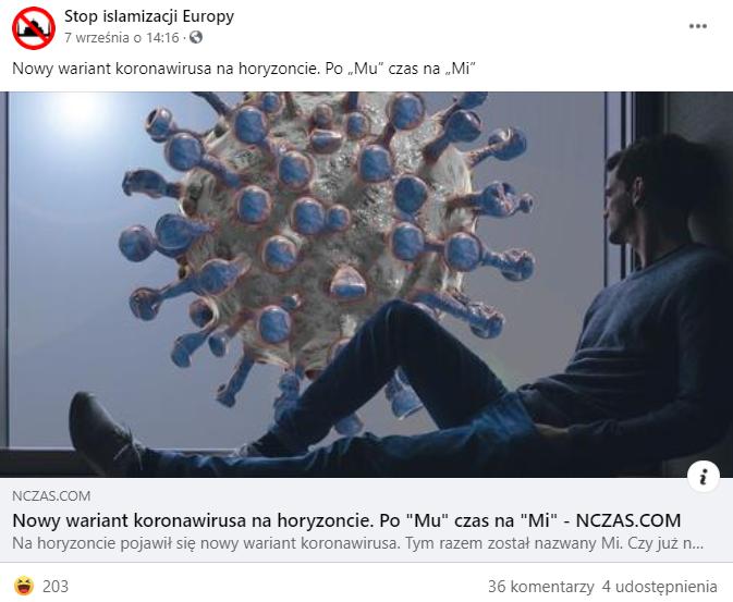 """Post odsyłający do tekstu o """"nowym wariancie"""" wirusa"""