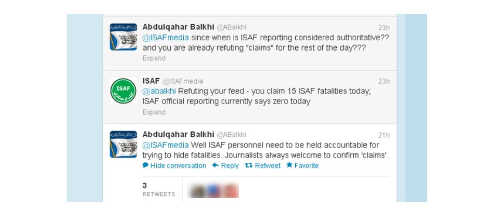 W 2012 roku talibowie na Twitterze dyskutowali z przekazami na profilu międzynarodowych sił bezpieczeństwa znajdujących się w Afganistanie