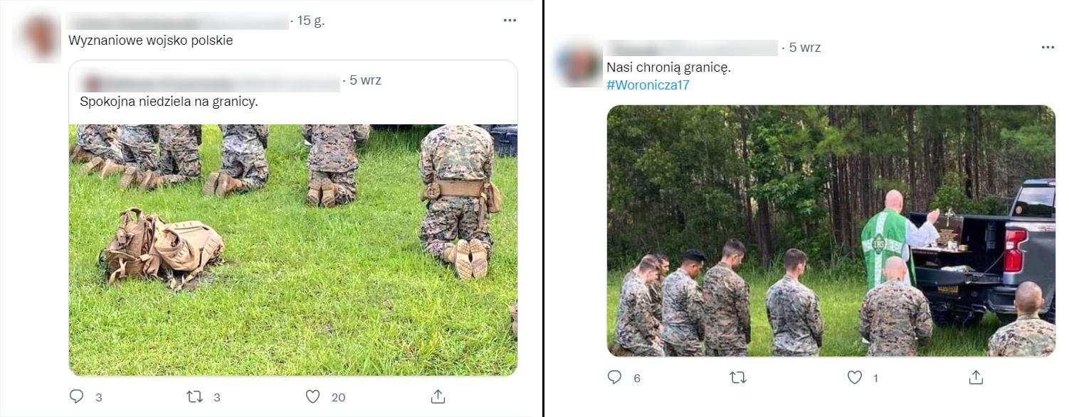 Przykładowe posty z wprowadzającymi w błąd komentarzami
