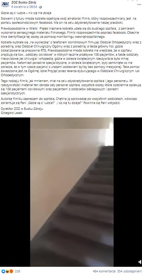 Post zamieszczony na profilu facebookowym szpitala w Busku-Zdroju