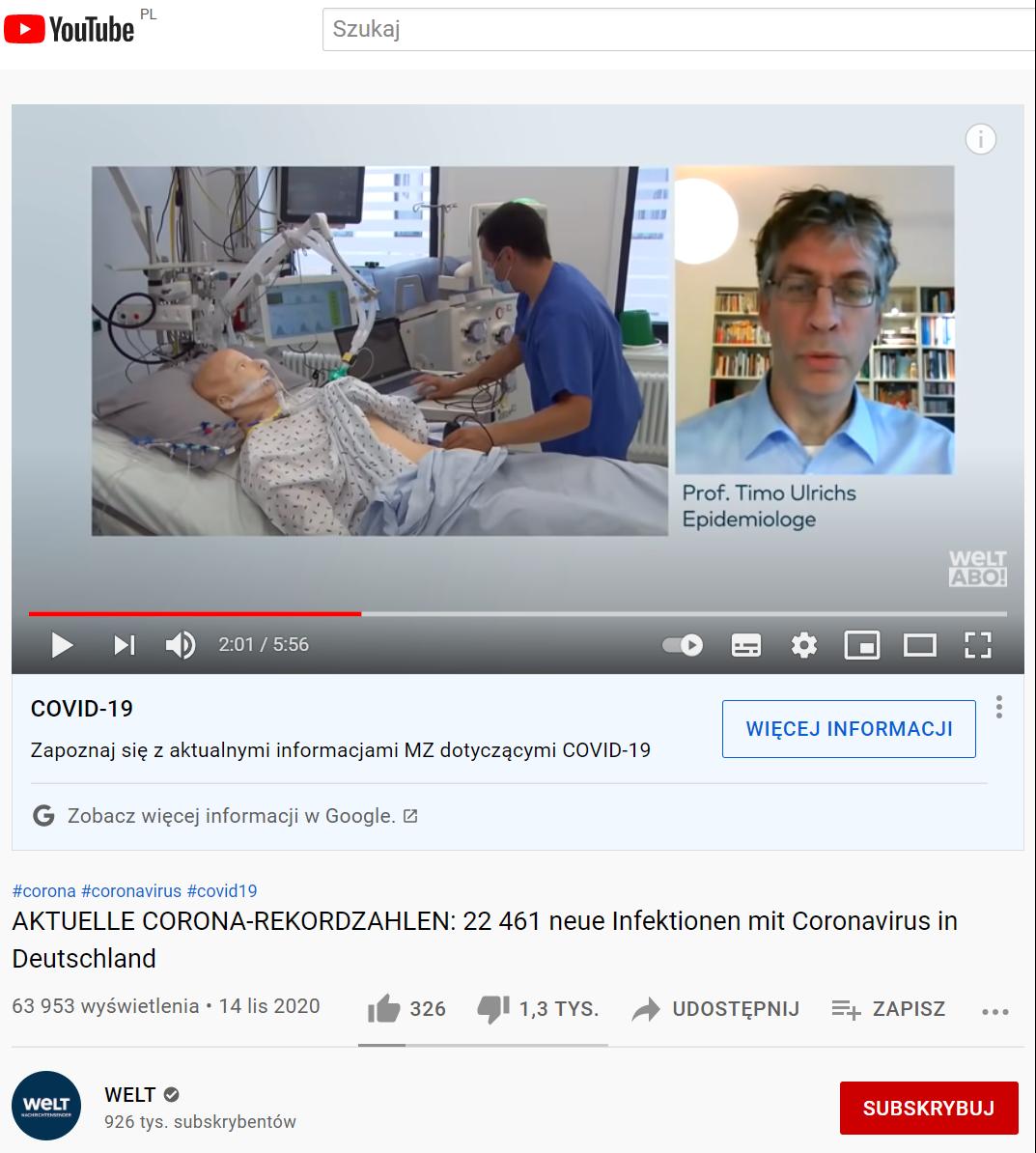 Materiał niemieckiej telewizji Welt dostępny na YouTube