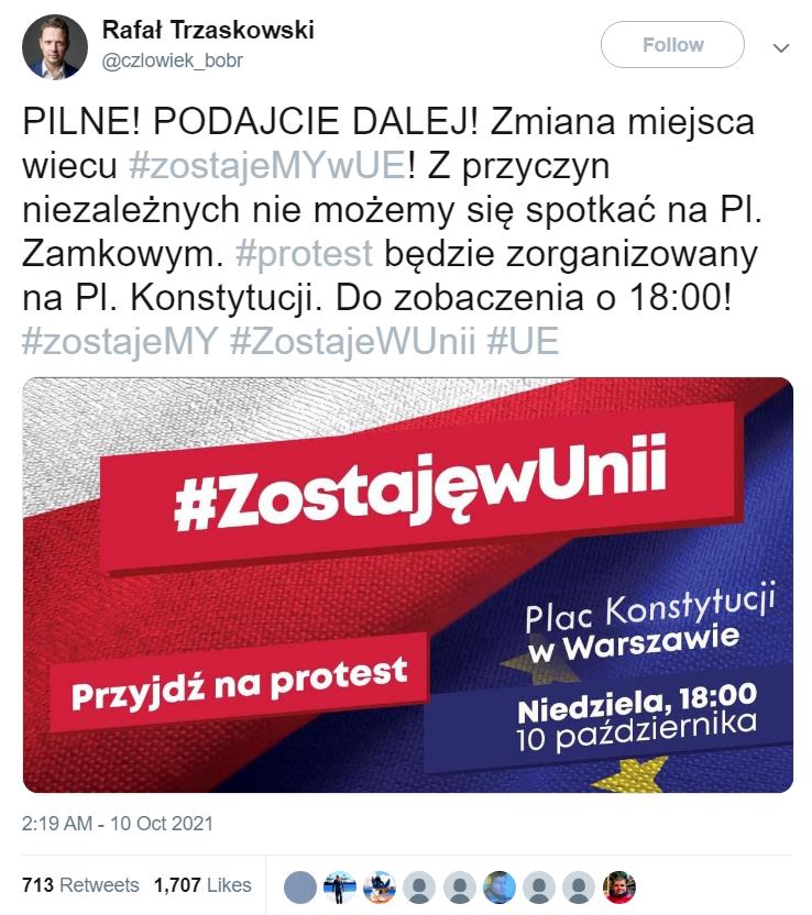 Wpis z fałszywego konta Rafała Trzaskowskiego