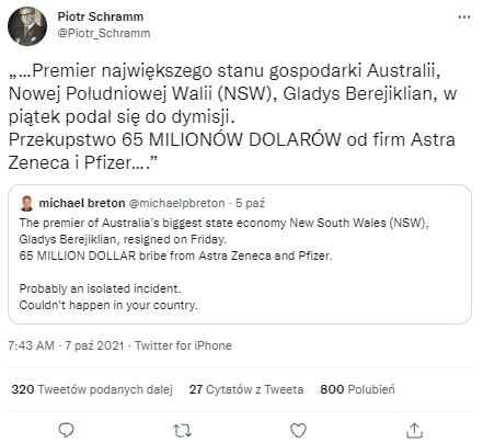 Tweet o Gladys Berejiklian powstały z tłumaczenia angielskiego posta