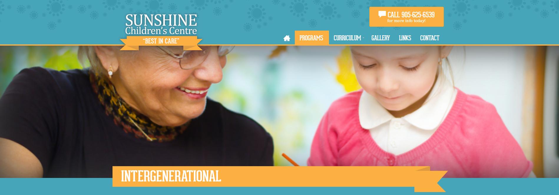 Oficjalna strona kanadyjskiej szkoły, w której łączy się przedszkole i dom seniora