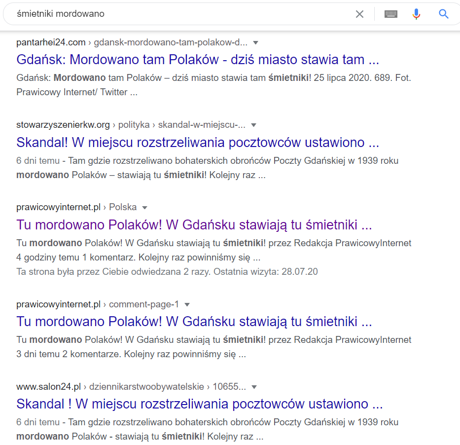 """Pierwsze wyniki wyszukiwania Google po wpisaniu słów """"śmietniki"""" i """"mordowano"""""""
