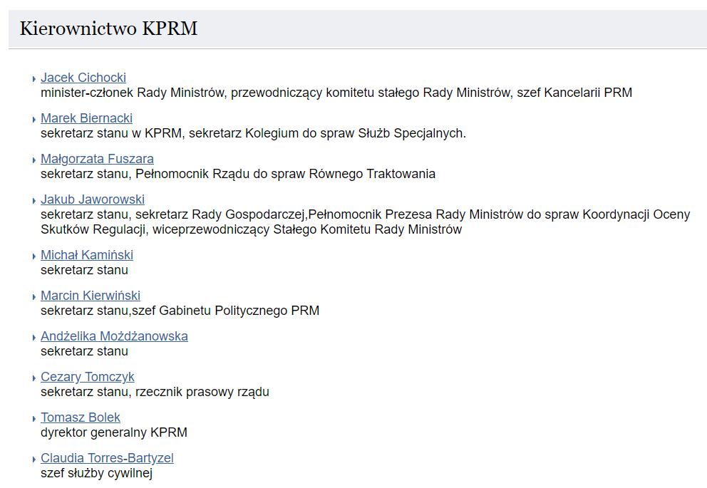 Kierownictwa KPRM w czasie rządów Ewy Kopacz (wrzesień 2015 roku)
