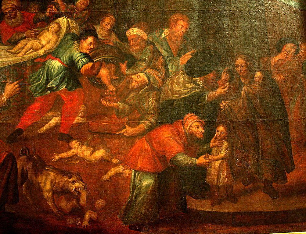 Obraz przedstawiający rzekomy mord rytualny z katedry w Sandomierzu autorstwa Karola de Prevot z XVIII wieku.