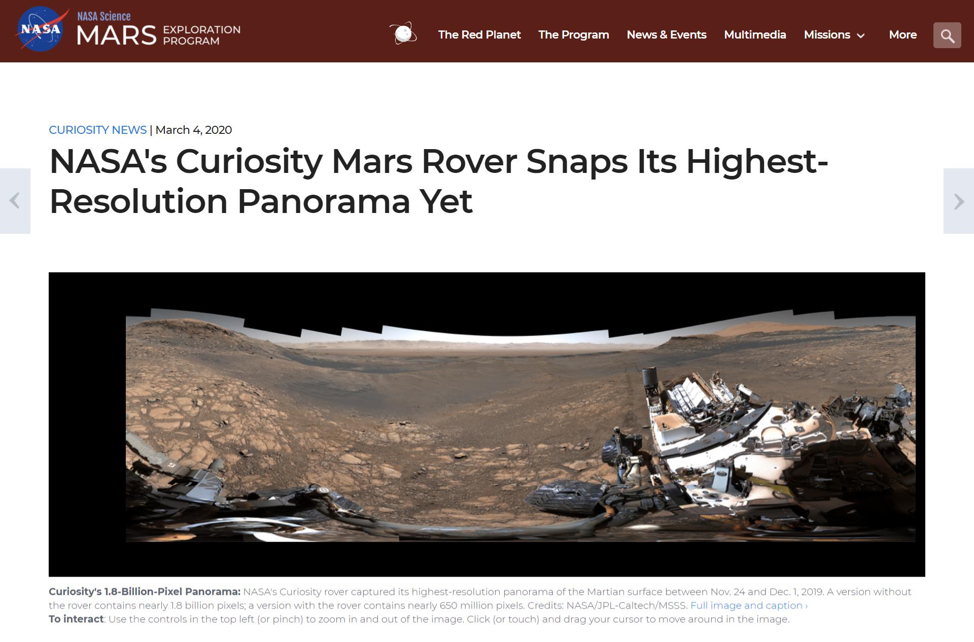 Panorama Marsa wykonana w 2019 roku przez łazik Curiosity