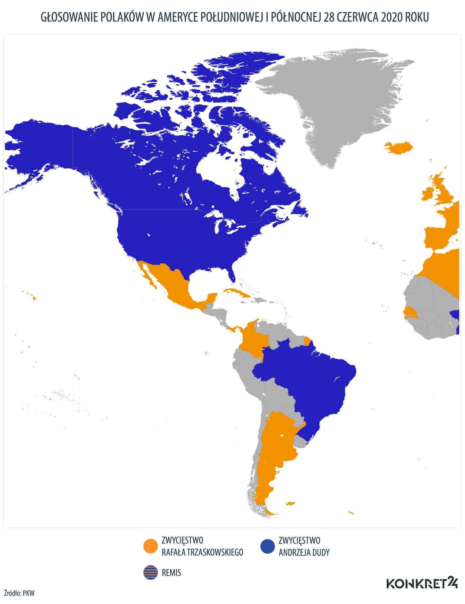 Głosowanie Polaków w Ameryce Południowej i Północnej w I turze wyborów prezydenckich w 2020 roku