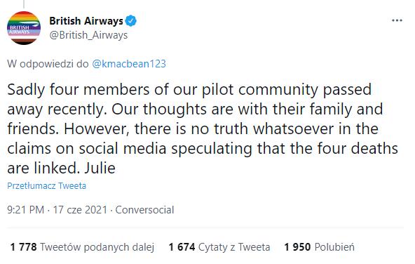 Oświadczenie British Airways na Twitterze