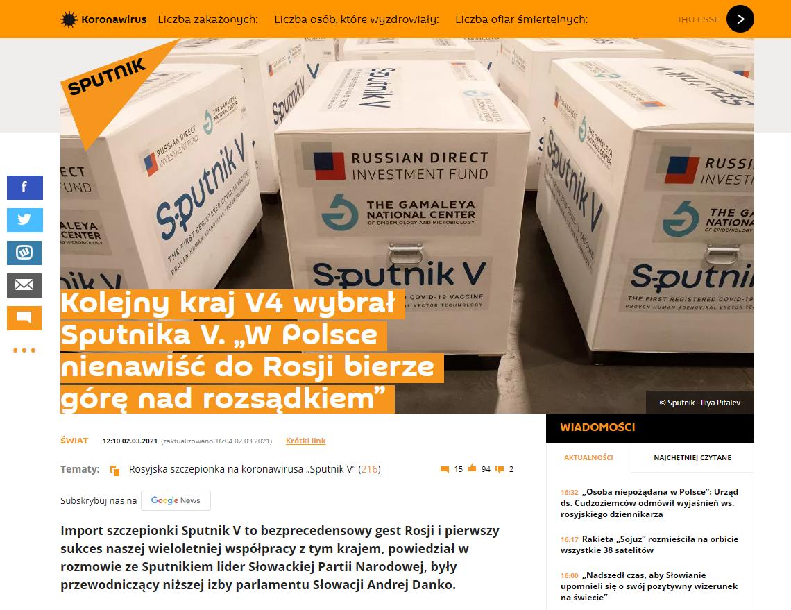 Artykuł Sputnik Polska z 2 marca 2021 roku o dostawie szczepionek Sputnik V do Słowacji