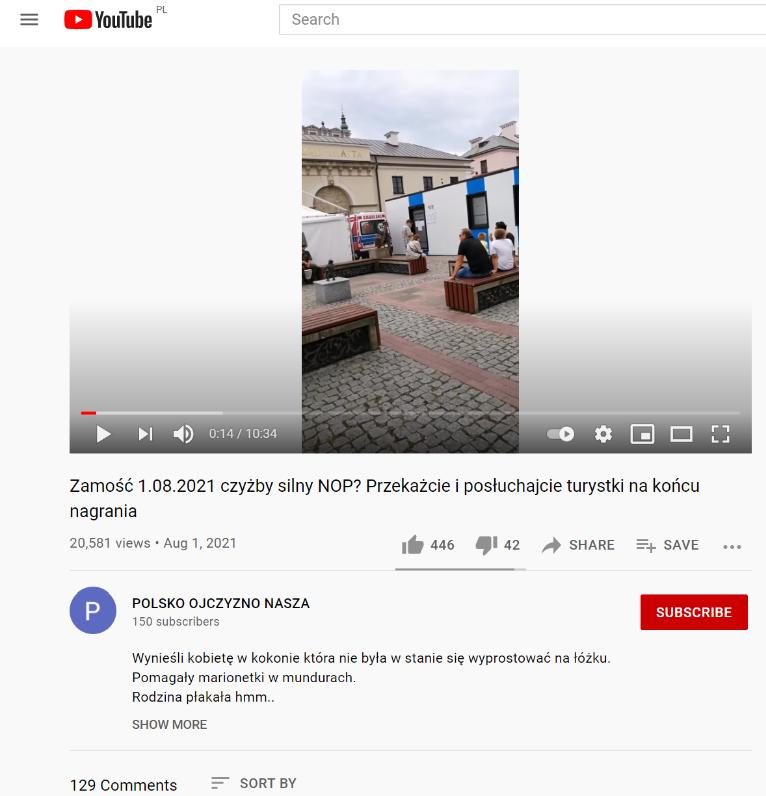 Film sprzed punktu szczepień w Zamościu pojawił się na YouTubie