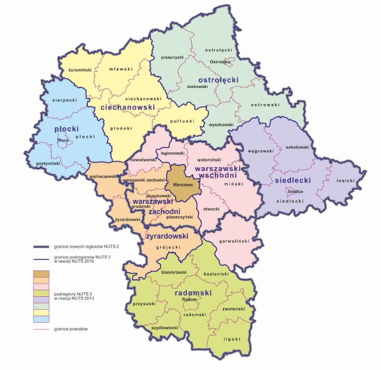 Statystyczny podział województwa mazowieckiego