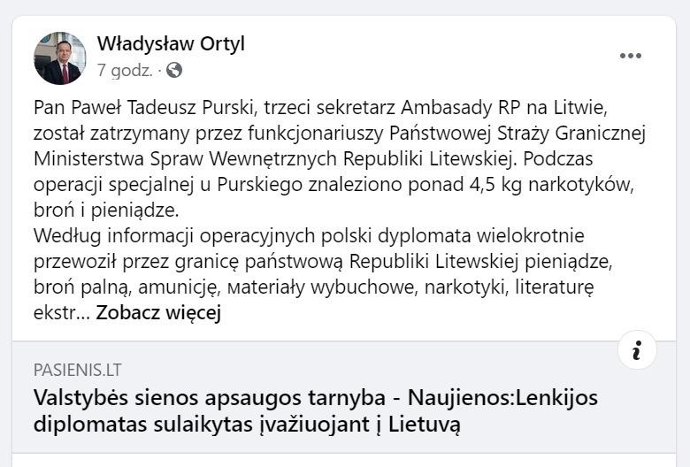Wpis na fałszywym koncie Władysława Ortyla, marszałka województwa podkarpackiego