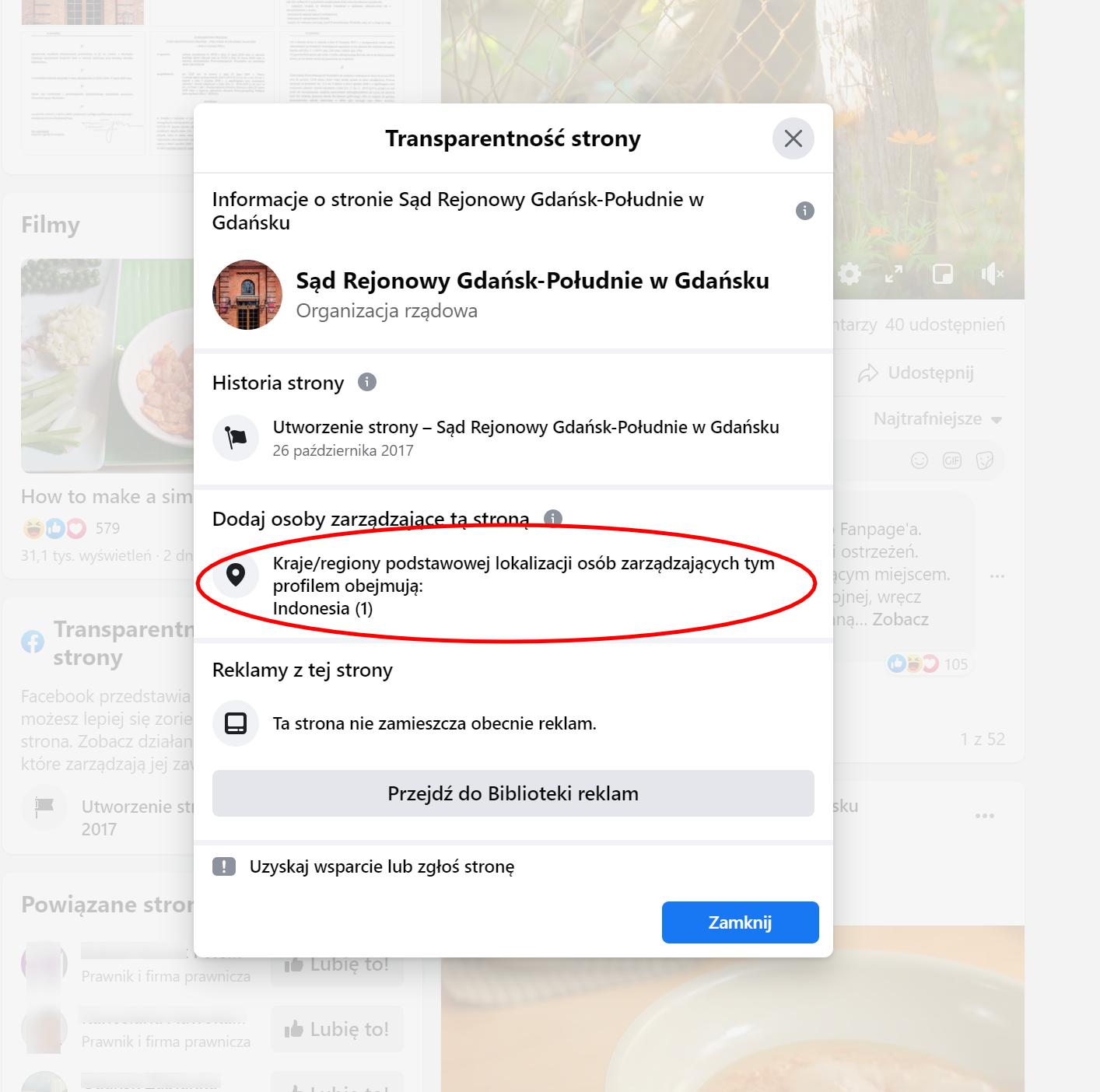 Facebookową stroną gdańskiego sądu administruje obecnie osoba z Indonezji