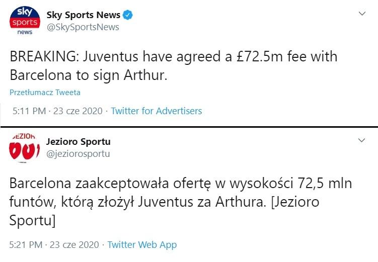 Wpisy na profilach Sky Sports News i Jeziora Sportu na temat transferu Arthura Melo