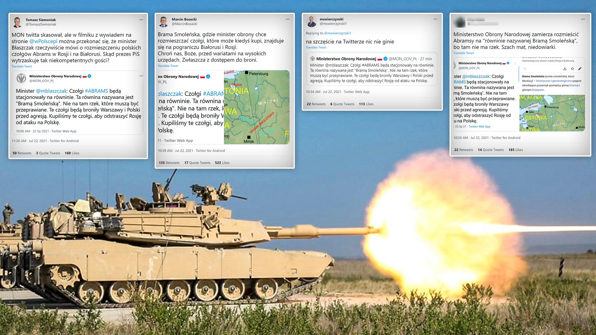 """Wpis o stacjonowaniu polskich czołgów """"na równinie zwanej Bramą Smoleńską"""" był szeroko komentowany w sieci"""