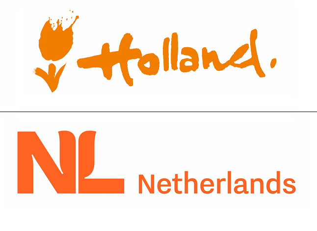 Poprzednie i obecne marketingowe logo Holandii