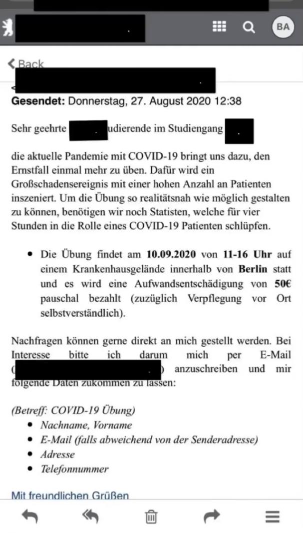 E-mail o poszukiwaniu statystów na ćwiczenia w szpitalu