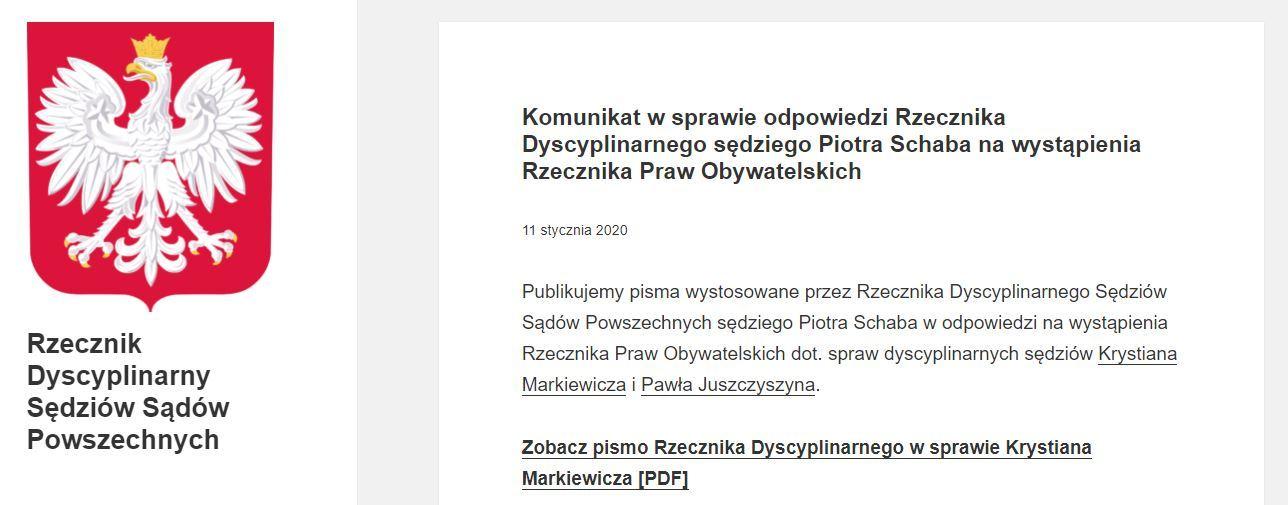 Fragment komunikatu dot. sędziego Pawła Juszczyszyna na stronie Rzecznika Dyscyplinarnego