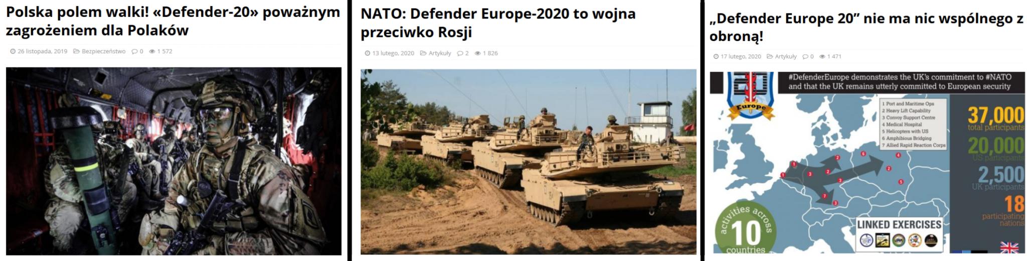 Przykładowe tytuły artykułów o ćwiczeniach Defender-Europe 20 na jednym z polskich portali