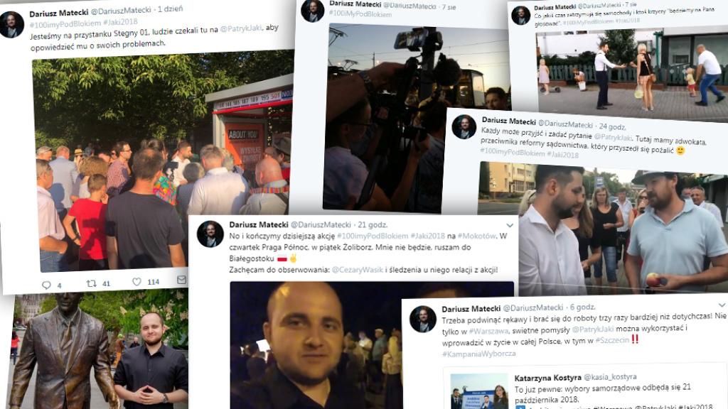Zrzuty ekranu z Twittera Dariusza Mateckiego